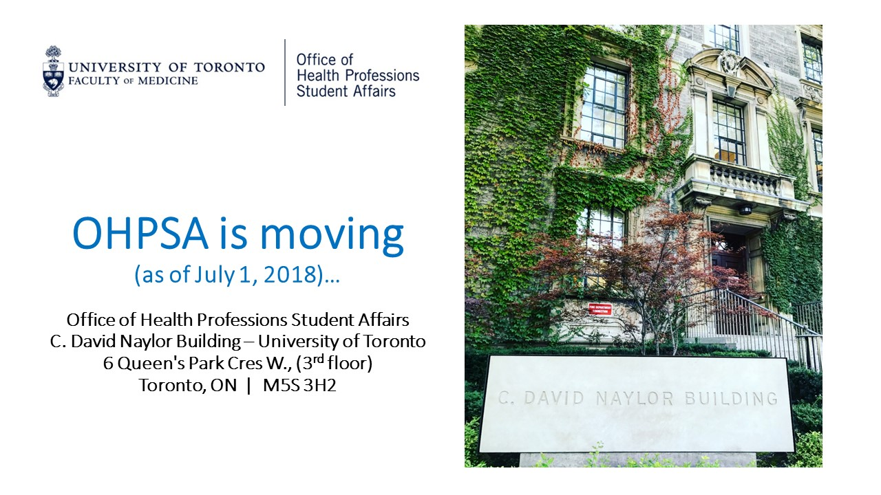 OHPSA is moving as of July 1, 2018 to 6 Queen's Park Cres W - 3rd floor
