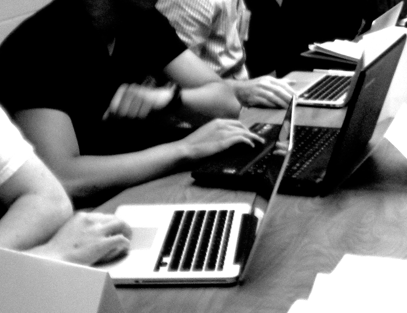 Med students working on laptops