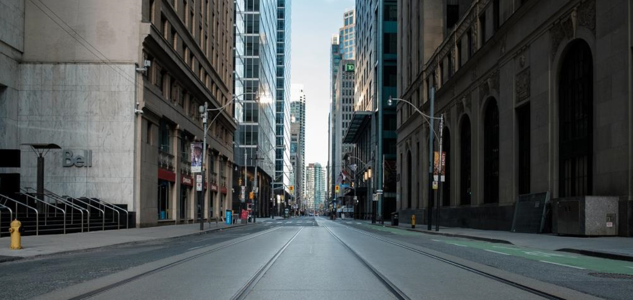 The busiest Toronto streets empty – a rare sight.